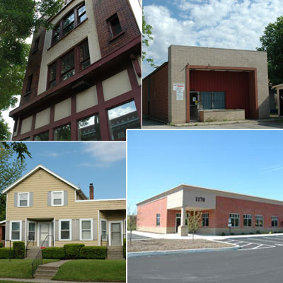 Clockwise from lower left: our first, second, third, and current buildings