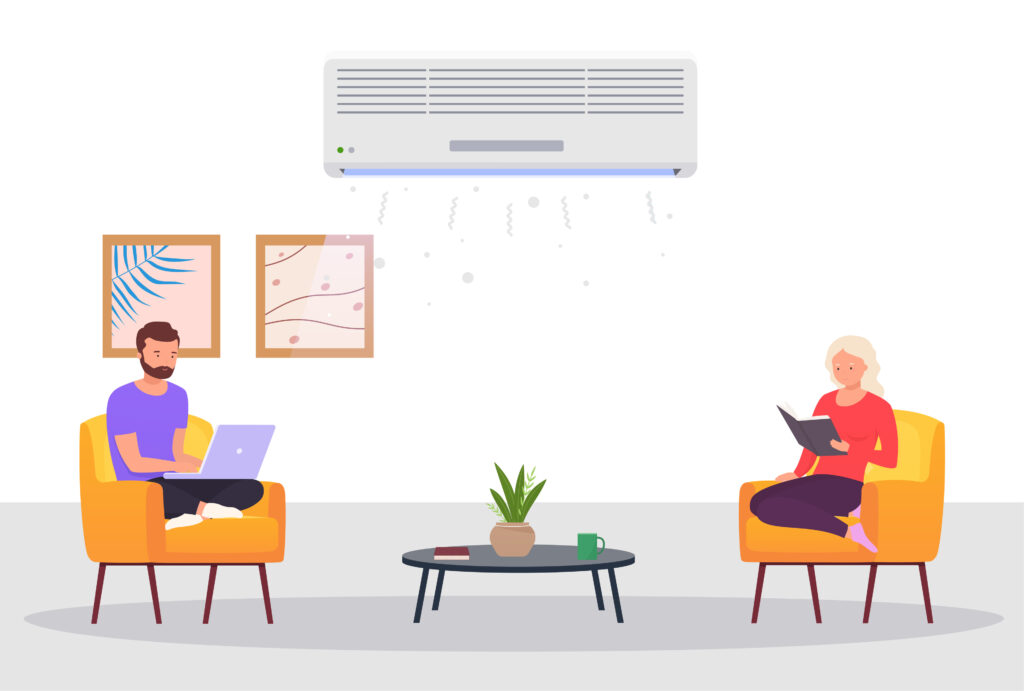 Room with air conditioning and people. Man and a woman work on laptop, relax at home in room with cooling. Concept of climate control indoors.